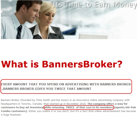 "This affiliate page for the purported Banners Broker ""advertising"" program claims members can get double their money."