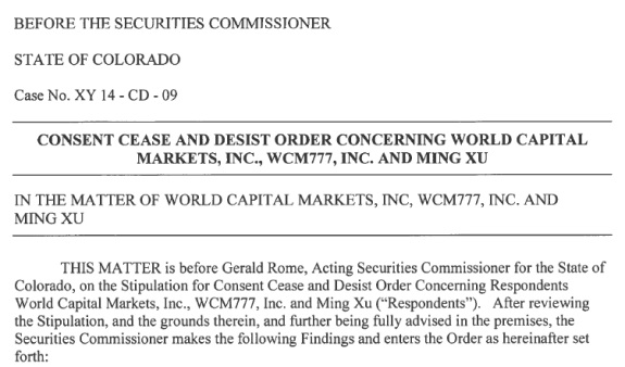 "From the Colorado C&D against the WCM777 MLM ""program."""
